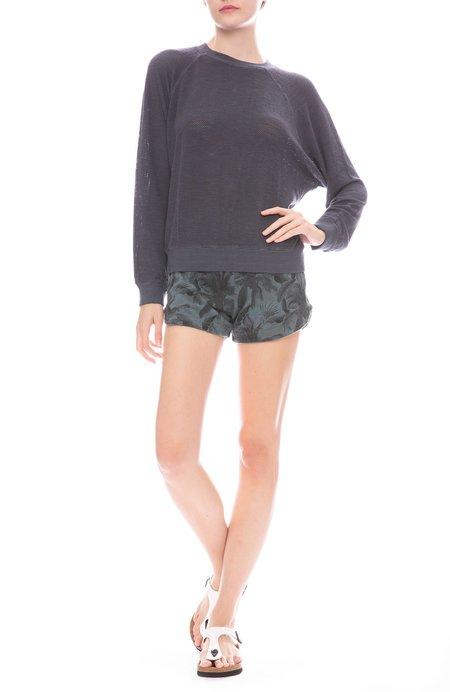Monrow Palm Print Lounge Shorts - Vintage Black