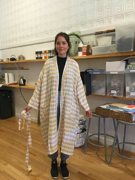 Kara Weaves Madras Bath Robe