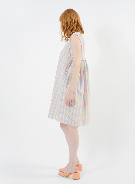 Meg Gathered Back Babydoll Dress - Rainbow Seersucker