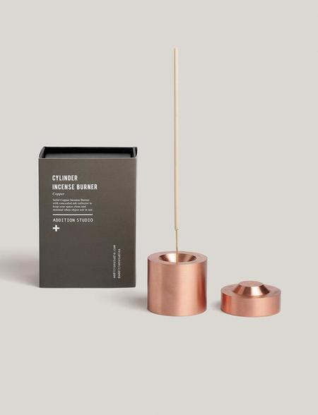 addition studios cylinder incense burner - copper