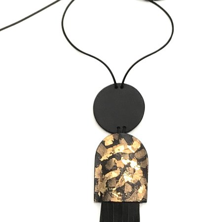 Lorraine Tuson Fringe with Gold Leaf Bell Necklace - Black