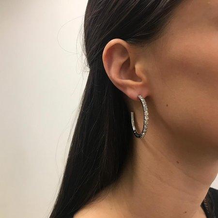 Joomi Lim Medium Crystal Hoop Earrings - Rhodium/Crystal
