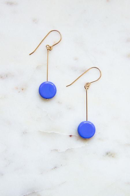 I. Ronni Kappos Glass Bead Circle Drop Earrings - Periwinkle/ 14K Gold