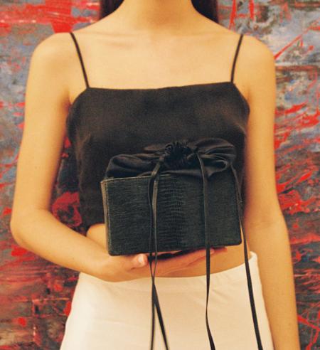 altaire silk Box Bag Black Lizard Effect - Navy