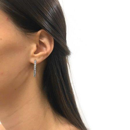 Joomi Lim Mini Crystal Hoop Earrings w/ Pearl Backs & Removable Chain