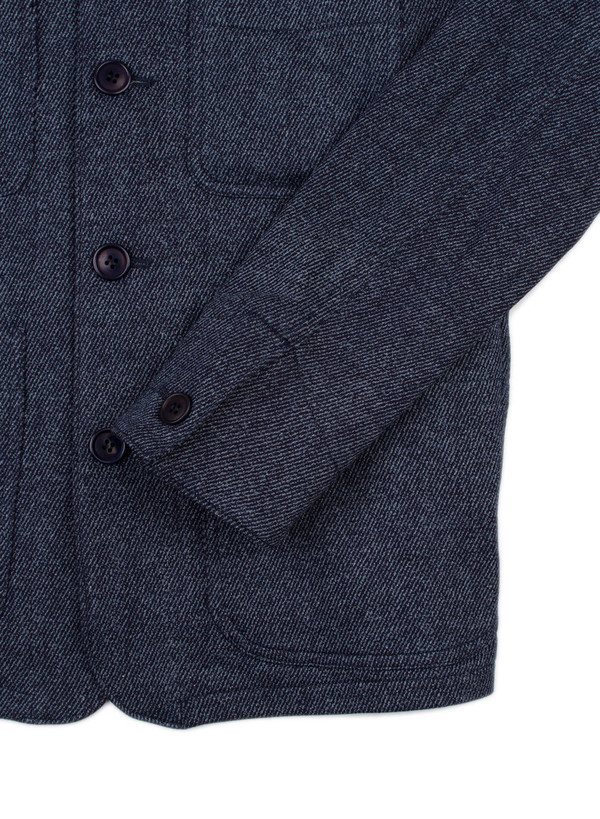 """Men's Blue Blue Japan Knitted Indigo Yarn Dyed Sweat """"Bassen"""" Printed Coverall Jacket"""