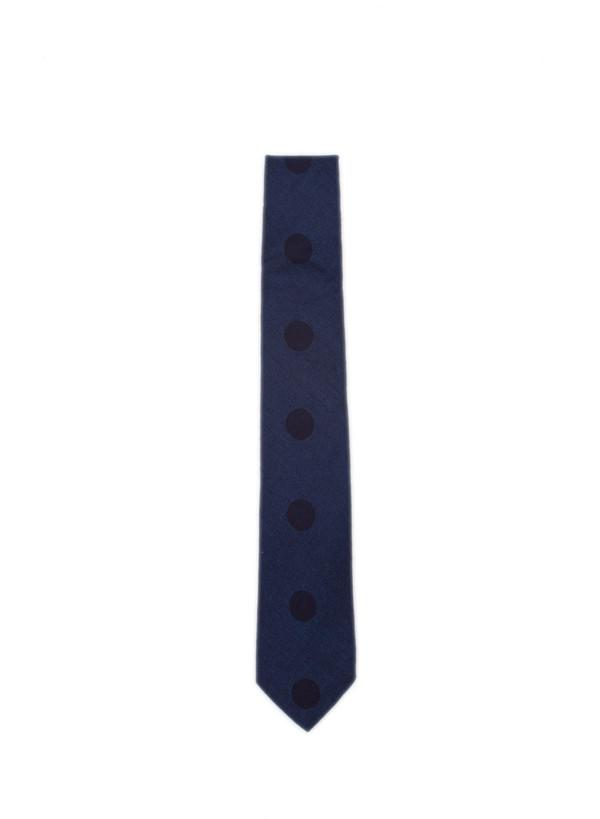 Blue Blue Japan Woven Indigo Twill Over Printed Necktie