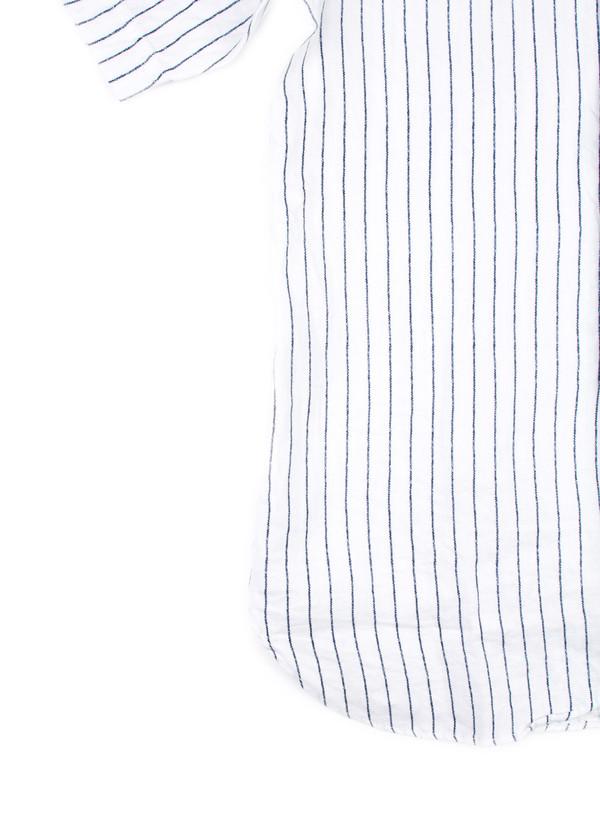 Men's Blue Blue Japan Woven Linen Twill Baseball Shirt