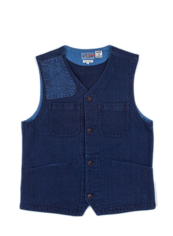 "Men's Blue Blue Japan Woven Pure Indigo ""Sashiko"" Gun Patch Hunting Vest"