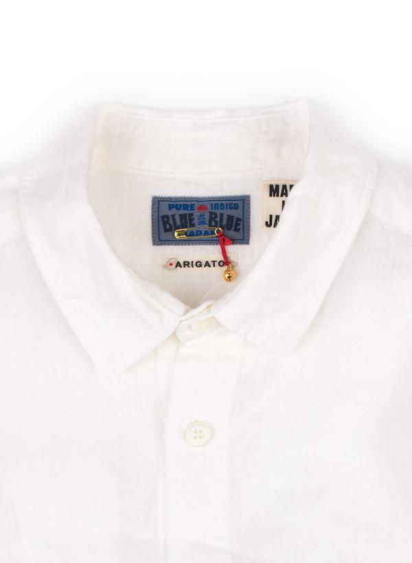 """Men's Blue Blue Japan Woven White Linen """"Hanteen"""" Cutover LS Shirt"""