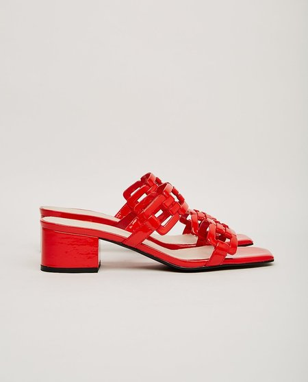 """""""INTENTIONALLY __________."""" PATENT leather SHARPY SANDAL - red"""