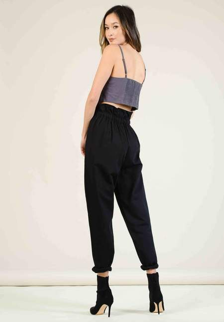 Lucca Couture Paper Bag Trousers - Black