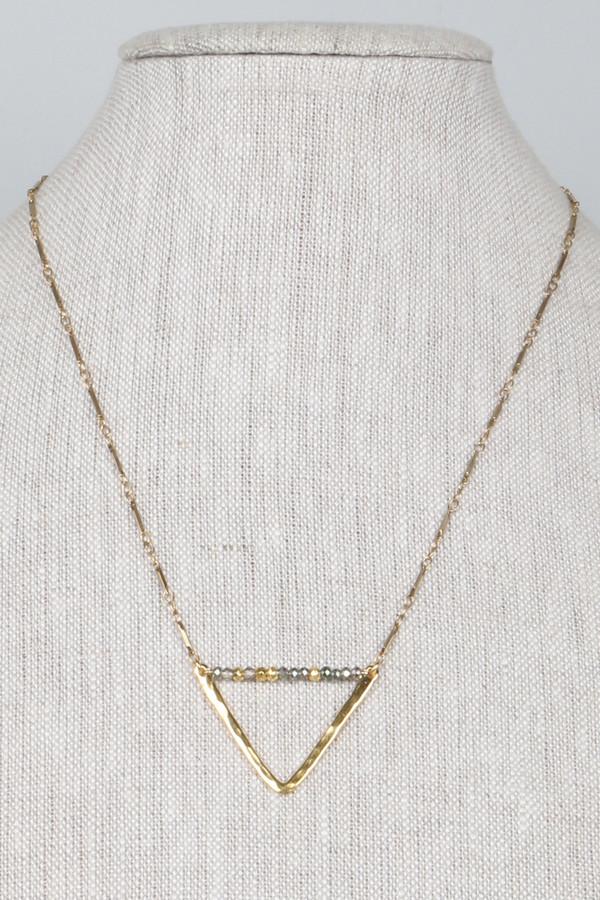 ML7344 Hammered Brass Triangle Nk