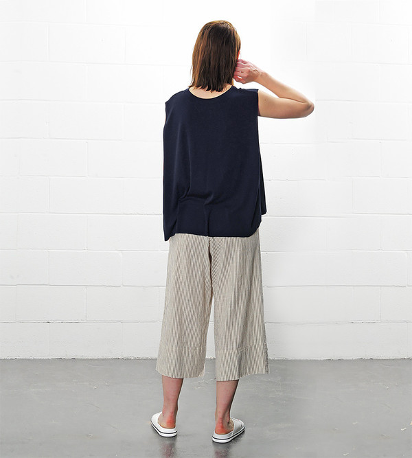 a c h r o Navy Linen Mixed Knit Top with Folded Sides