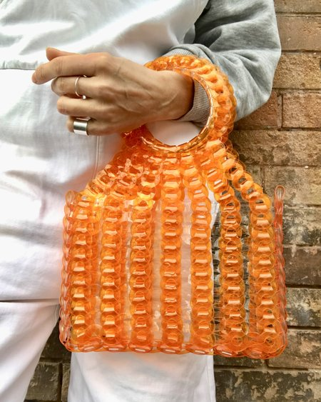 EE HANCRAFTED Large Square Vinyl Handbag - Orange Stripe