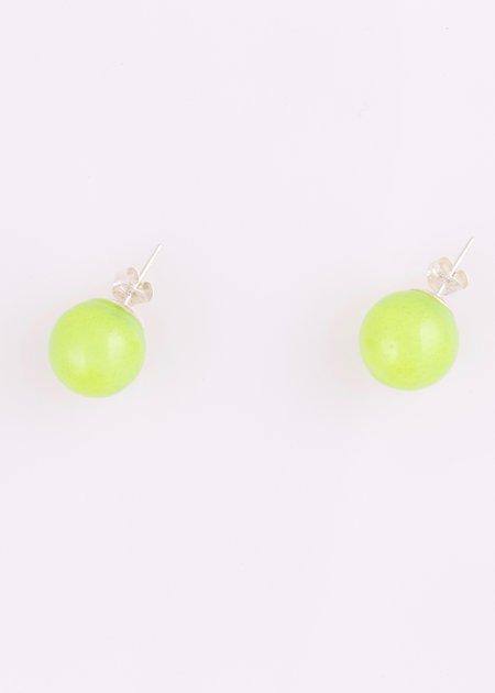 Keane Glass Stud Earrings - Avocado