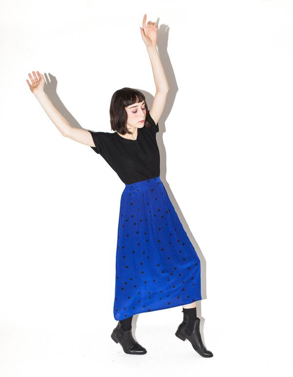 Ali Golden Black Dot Midi Skirt