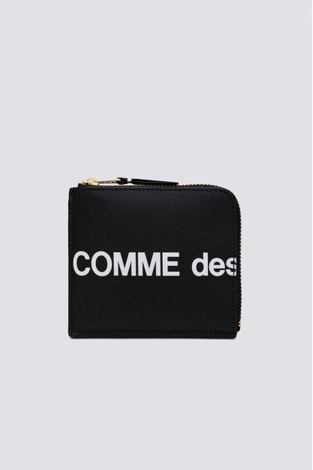Comme des Garçons SA3100HL Leather Huge Logo Half Zip Wallet - Black