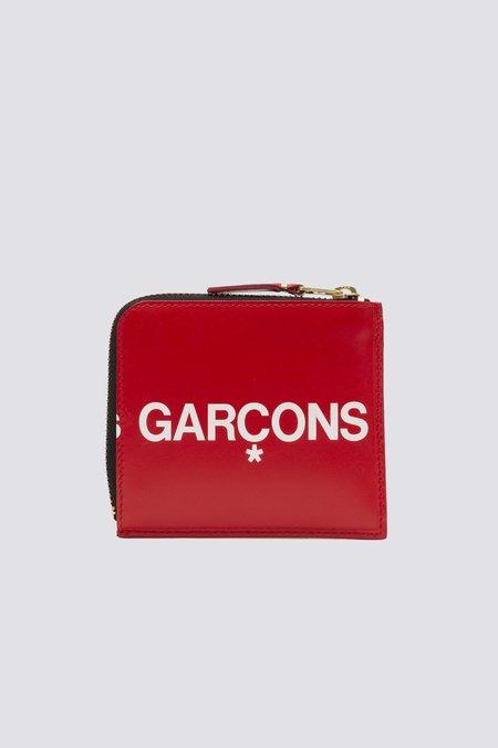Comme des Garçons SA3100HL Leather Huge Logo Half Zip Wallet - Red