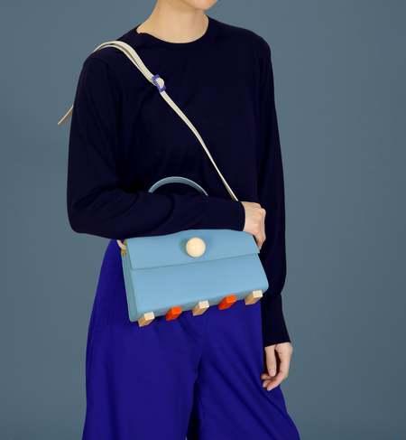 Matter Matters Mini Trapezoid Satchel Bag With Strap - Light Blue
