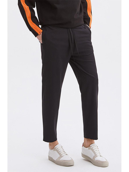 SYSTEM HOMME Strap Twill Baggy Pants - Black