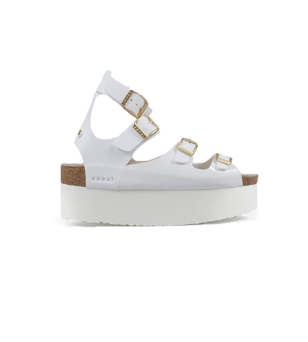 Sacai White Leather Multi-Strap Platform Sandal