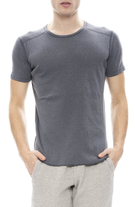 Wings+Horns 1x1 Slub Short Sleeve Crewneck - HEATHER CHARCOAL