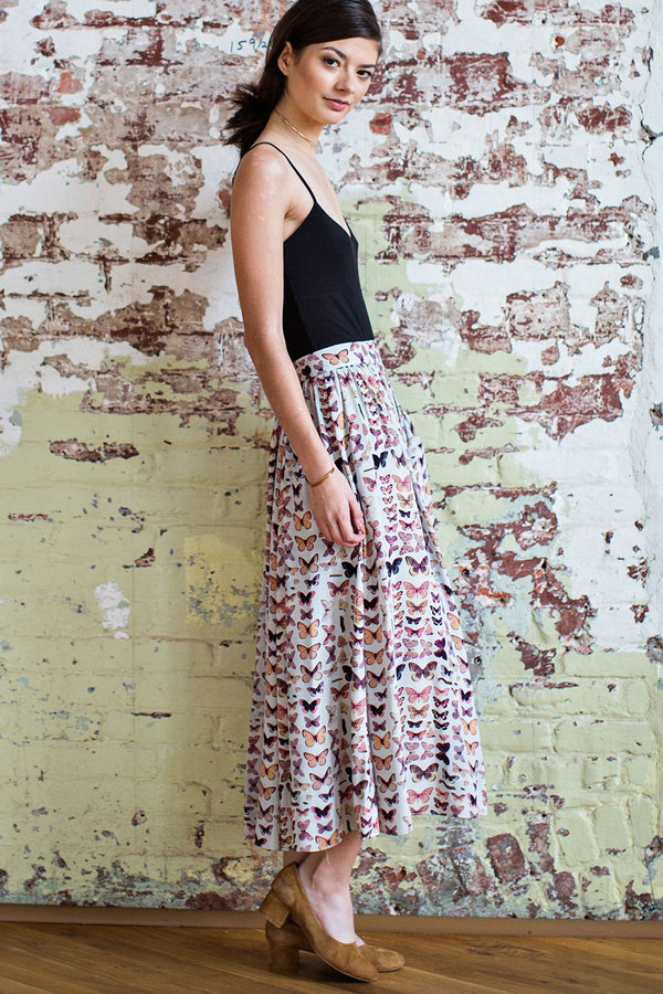 Plante  Rose Skirt in Bookplate Print