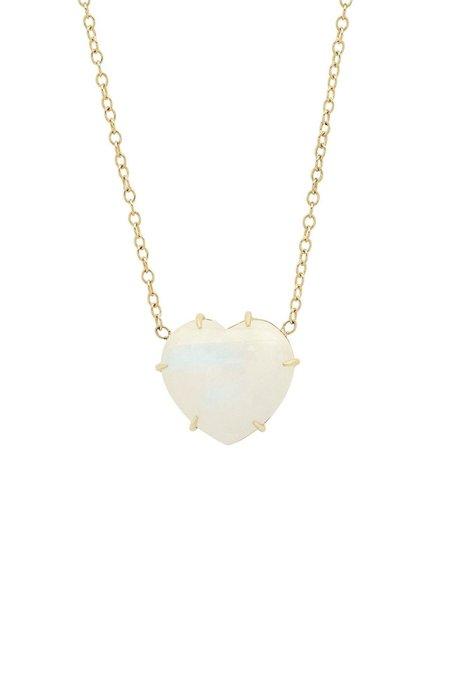 SHAIN LEYTON Rainbow Moonstone Heart Necklace - 14K Yellow Gold