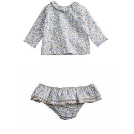 kids belle enfant baby ruffle collar blouse + bloomers set - liberty d'anjo