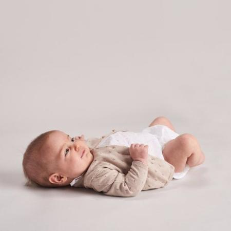 KIDS belle enfant cotton pointelle cardigan - mushroom