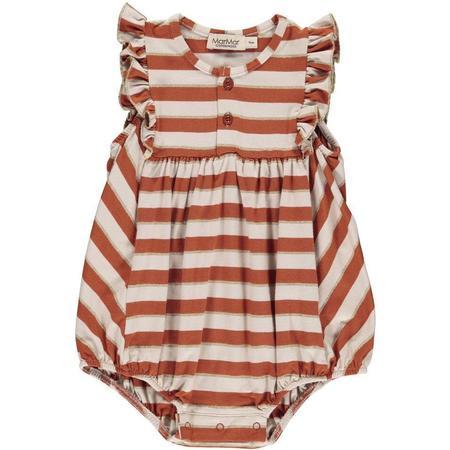 Kids Marmar Copenhagen Rommy Frill Baby Romper - Burnt Red Stripe