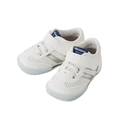 Kids Miki House Leather Second Shoes - White