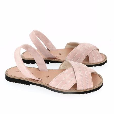 Kids Minorquines Velour Sandals - Rose
