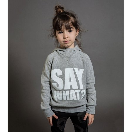 Kids Nununu Say What? Fluffy Hoodie - Heather Grey