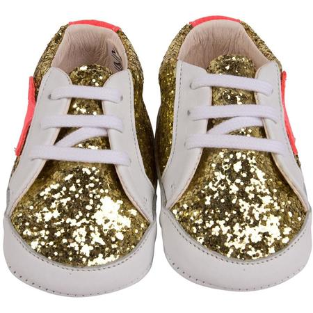 kids pepe galassia/vitello sparkle baby sneakers - gold