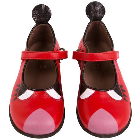 kids pepe heritage hand painted shoe - red/pink