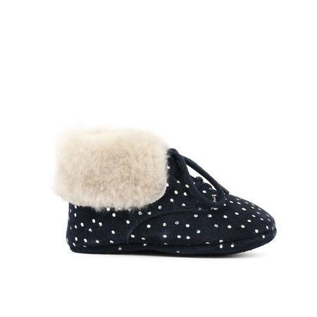 kids pom d'api first fur slipper - polka dots