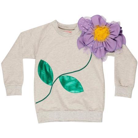 Kids Wauw Capow By Bangbang Copenhagen Flower Sweatshirt - Light Grey Melange