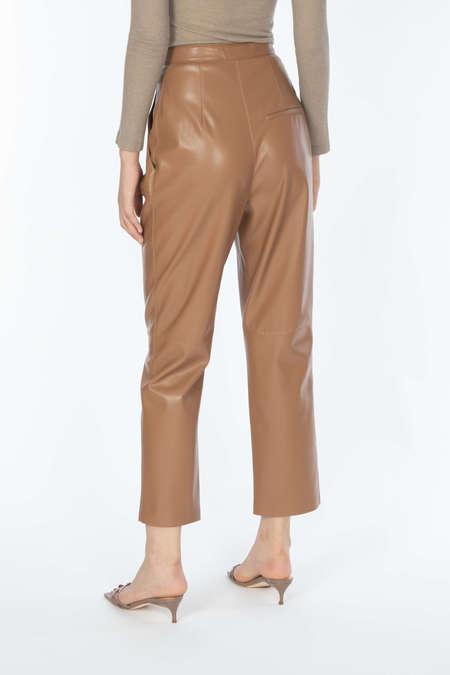 NANUSHKA Pleat Front Cigarette Pants - Brown