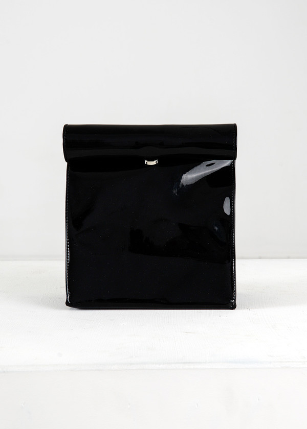 S M K Black Vinyl Foldover Bag