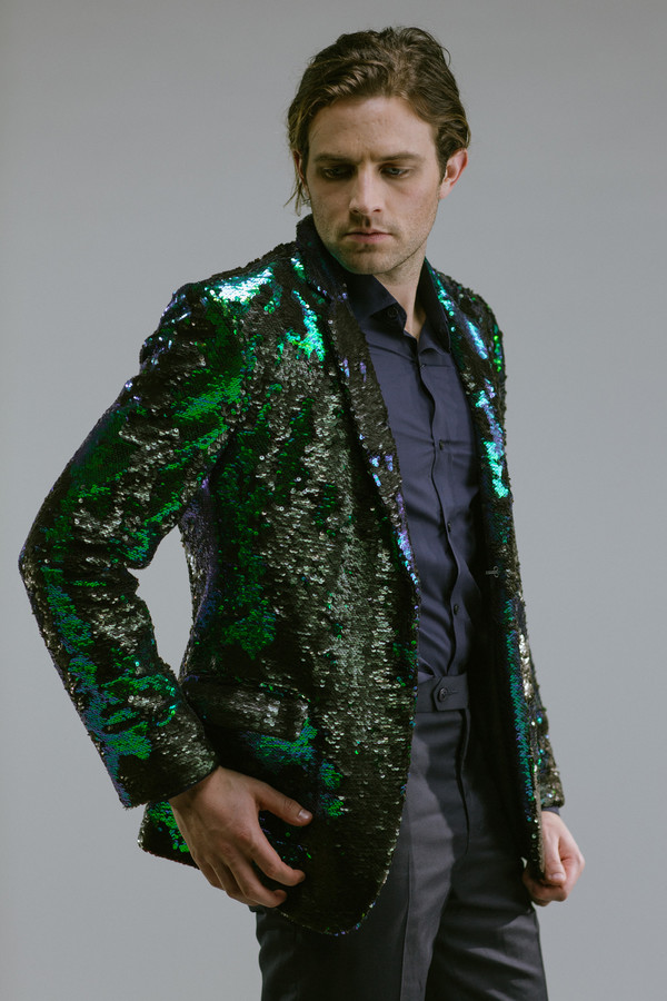 Any Old Iron Peacock Sequin Blazer