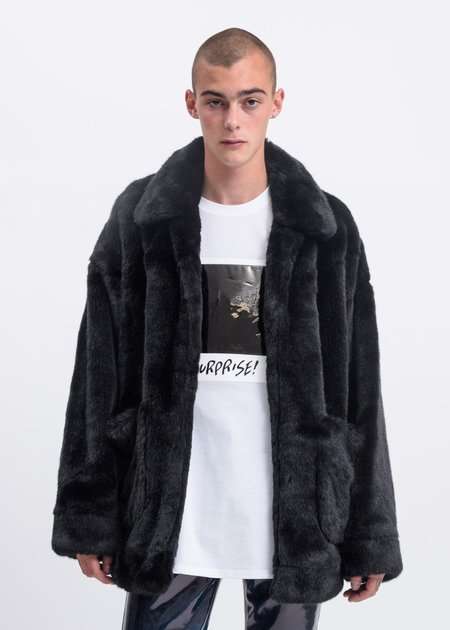 Doublet Hand Painted Fur Jacket - Black