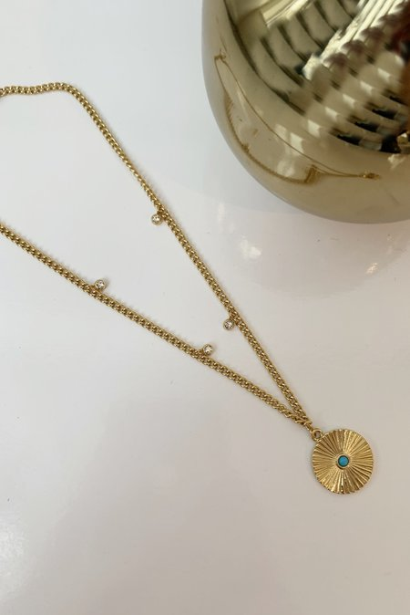 Ellie Vail Jewelry Patricia Necklace - 18K Gold plate/Turquoise