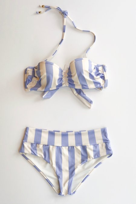 Estivo x salua Cupped Bikini Top - Lilac/Ivory Stripes