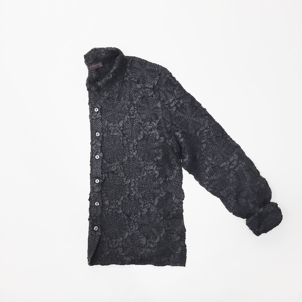 Johan Vintage Black Pleats Shirt