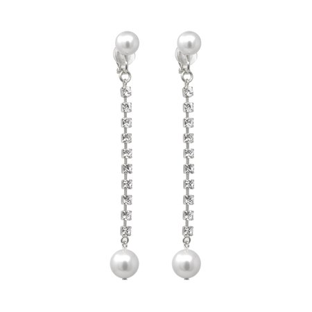Joomi Lim Crystal Chain & Pearl Clip Earrings