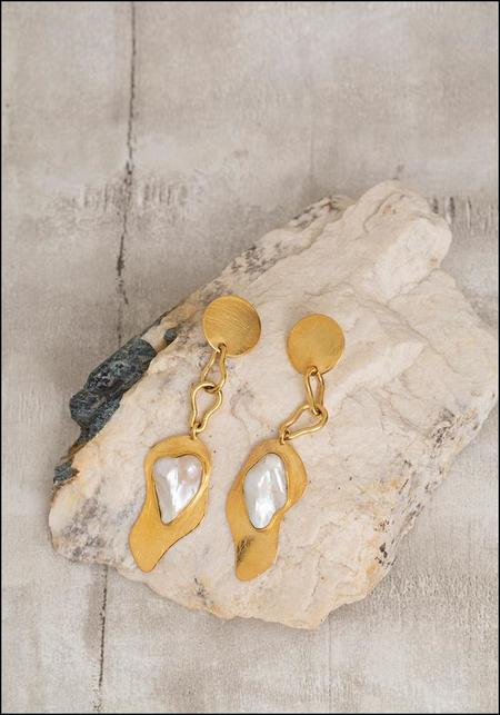 Liya Chained Pearlette Earrings - Gold