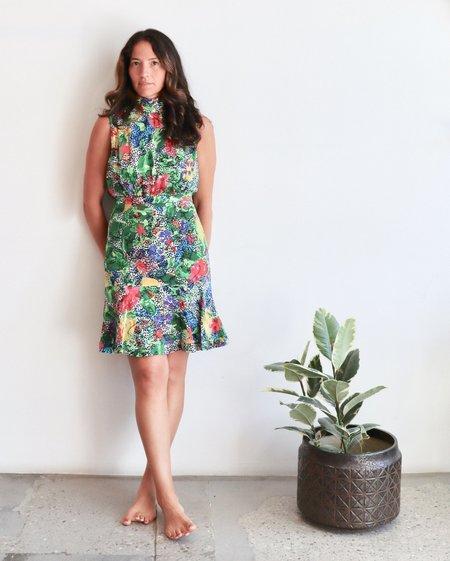 Saloni Fluer Short Dress - Dotty Berry Leaf