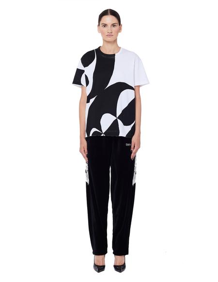 unisex Doublet Embroidered Velour Sweatpants - Black